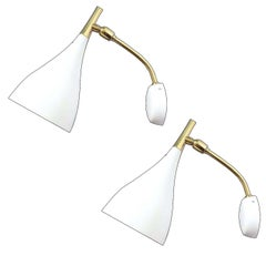 Pair of Midcentury Mirror Brass Sconces Wall  Lights, Stilnovo Gio Ponti Era