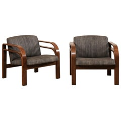Pair of Midcentury Double Bent-Wood Arm Chairs with Upholstered Seat & Back