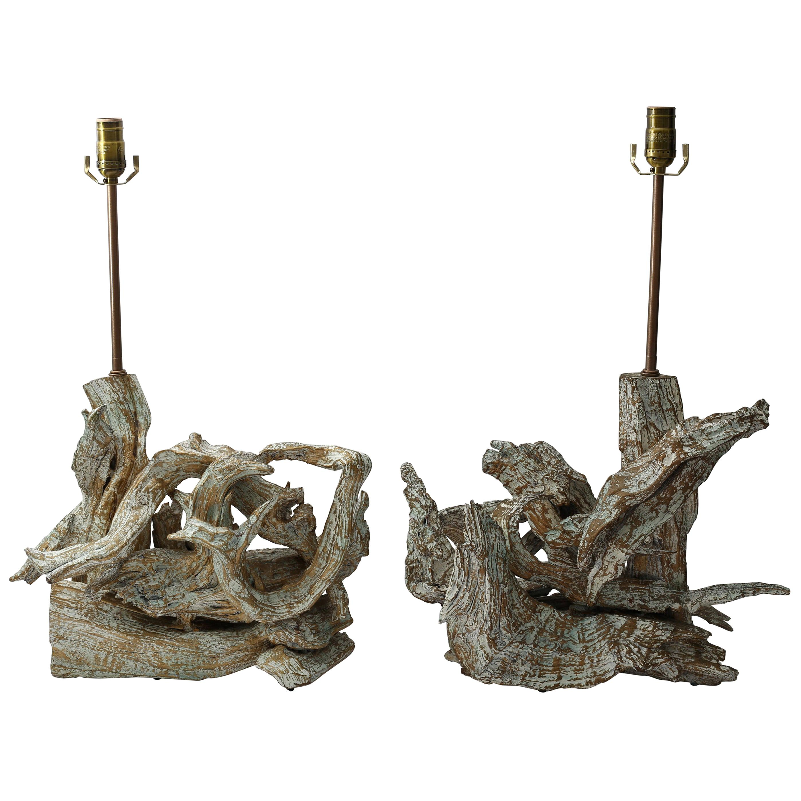 Pair of Midcentury Driftwood Table Lamps