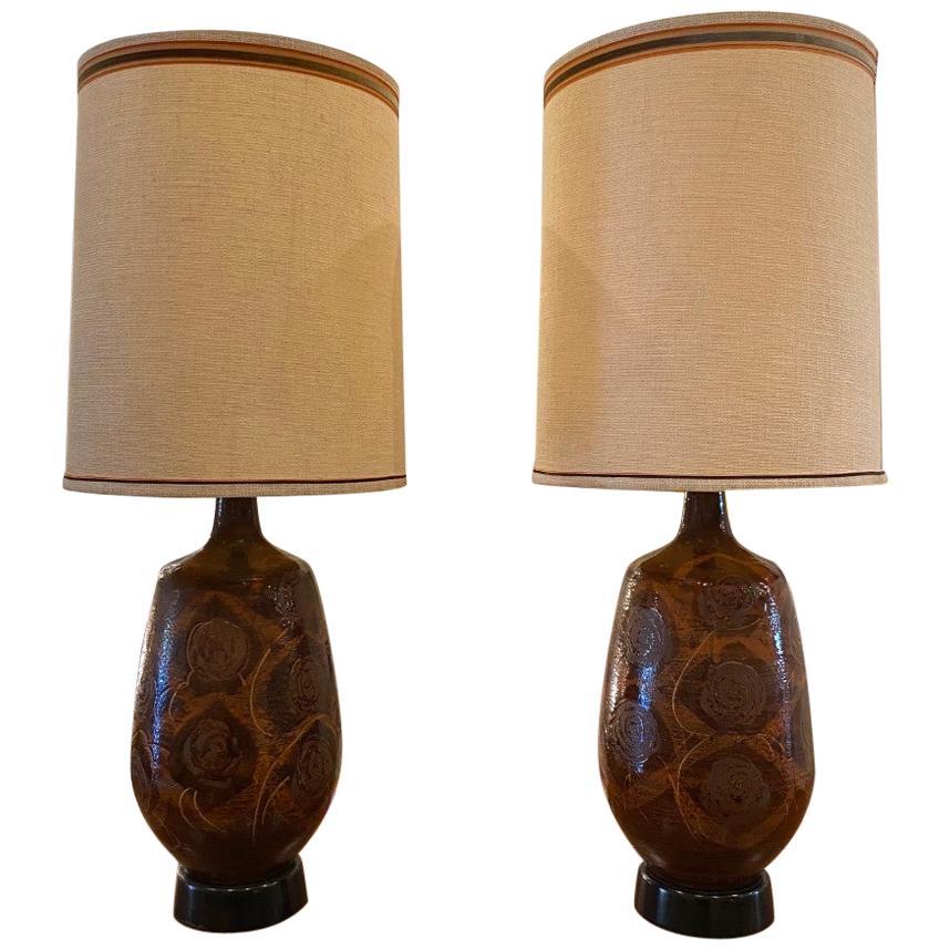 Pair of Midcentury Drip Glaze Ceramic Table Lamps
