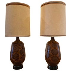 Pair of Midcentury Drip Glaze Ceramic Table Lamps