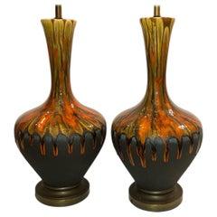 Pair of Midcentury Drip Glaze Porcelain Table Lamps