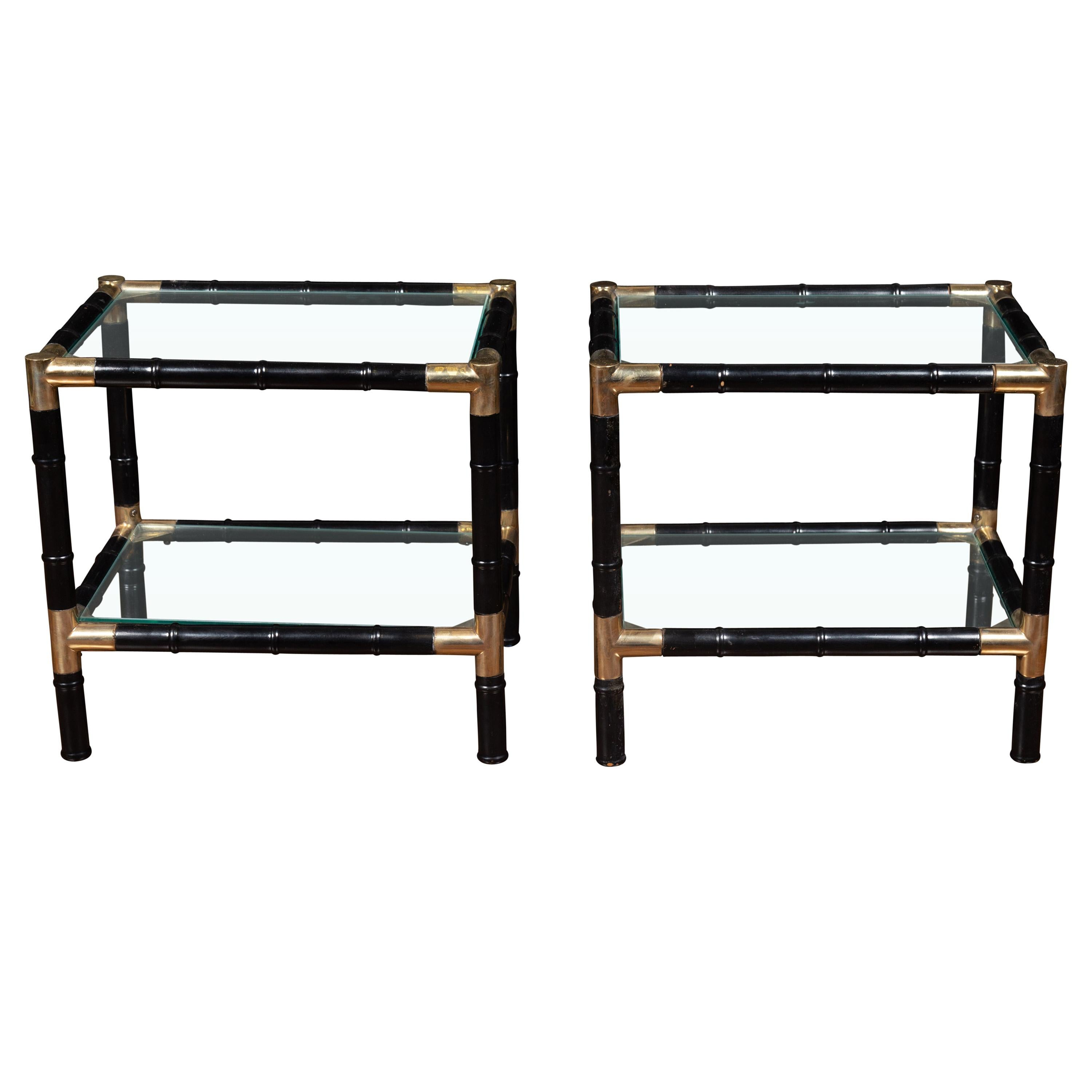 Pair of Midcentury Ebonized Faux Bamboo and Glass Side Tables with Brass Shelves