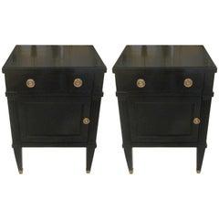 Pair of Midcentury Ebonized Louis XVI Style Nightstands