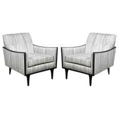 Pair of Midcentury Ebonized Walnut and Platinum Silk Blend Fabric Armchairs