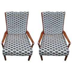 Pair of Midcentury Ebonized Walnut Armchairs by Parker Knoll, 1960s