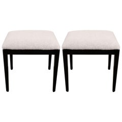 Pair of Midcentury Ebonized Walnut Stools in the Manner of Tommi Parzinger