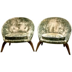 Pair of Midcentury Egg Chairs Style of Jean Royere