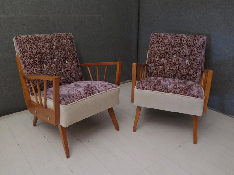 Mid-Century Modern Pair of Midcentury Embroidered Velvet and Light Wood Italian Armchairs, 1950 For Sale