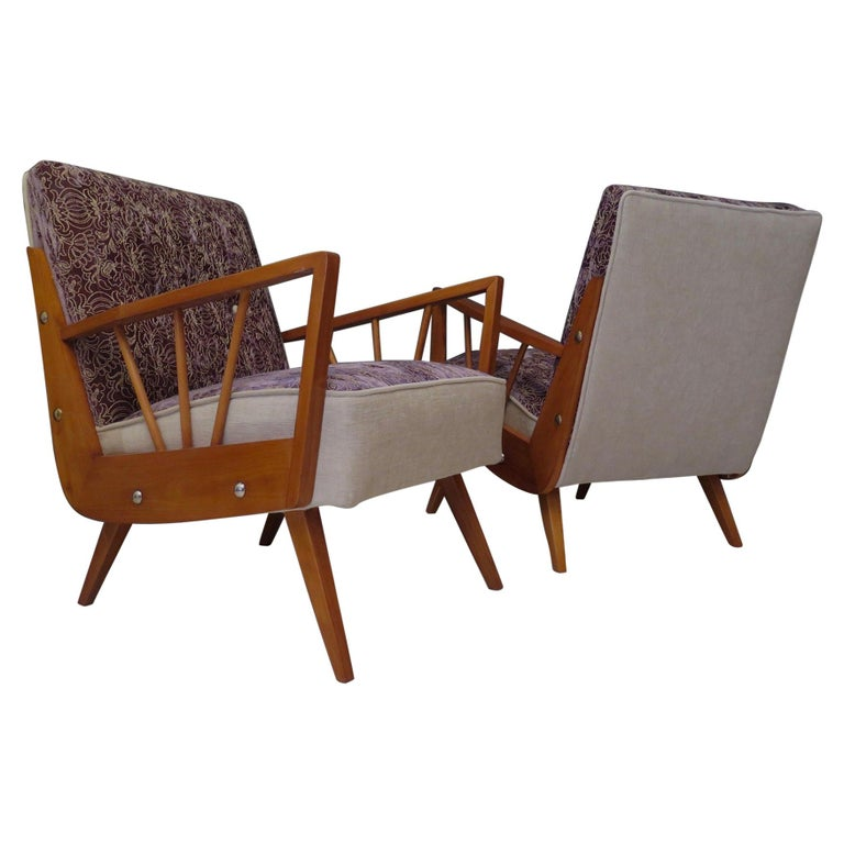 Pair of Midcentury Embroidered Velvet and Light Wood Italian Armchairs, 1950 For Sale
