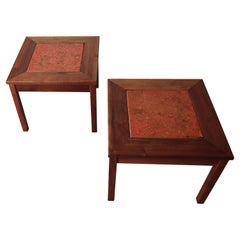 Pair of Midcentury Enameled Copper and Walnut Side Tables