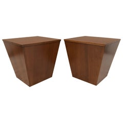 Pair of Midcentury End Table/ Cube Boxes with Storage Interiors