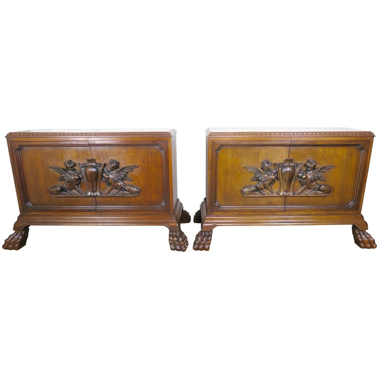 Pair of Midcentury English Carved Lion Paw Cabinets For Sale