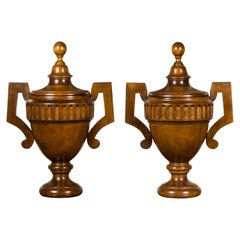 Pair of Midcentury English Carved Walnut Lidded Urns with Large Handles