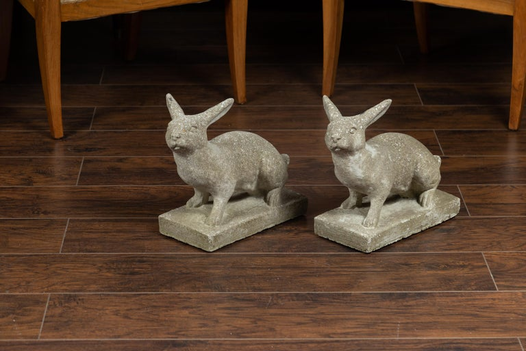 Pair of Midcentury English Concrete Rabbits Sculptures on Rectangular Bases For Sale 1