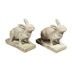 Pair of Midcentury English Concrete Rabbits Sculptures on Rectangular Bases