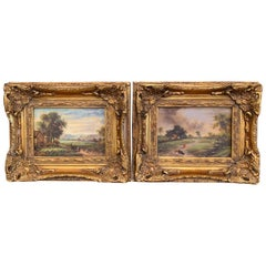 Pair of Midcentury English Pastoral Paintings on Board in Carved Giltwood Frames