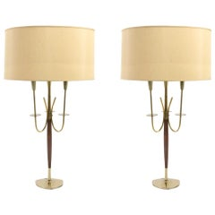 Pair of Midcentury Fanciful Wood and Brass Lamps