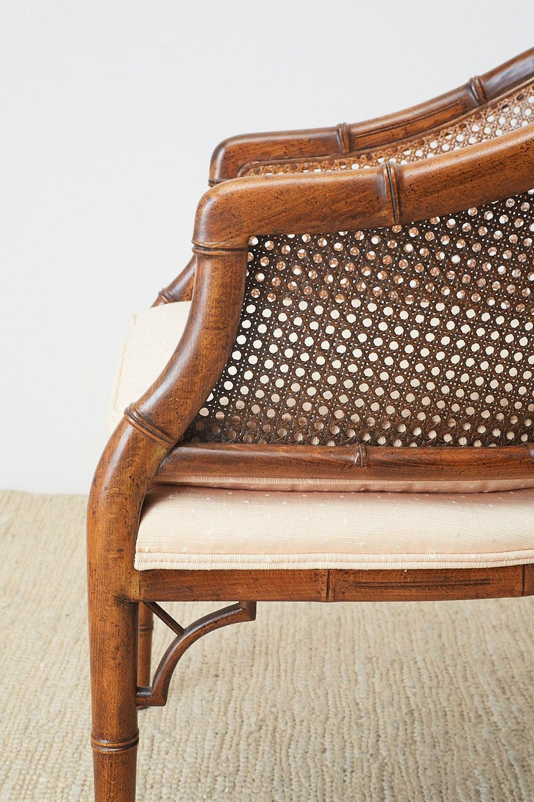 Pair of Midcentury Faux-Bamboo Caned Barrel Chairs For Sale 2