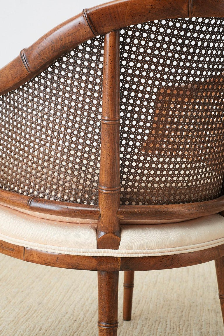 Pair of Midcentury Faux-Bamboo Caned Barrel Chairs For Sale 3