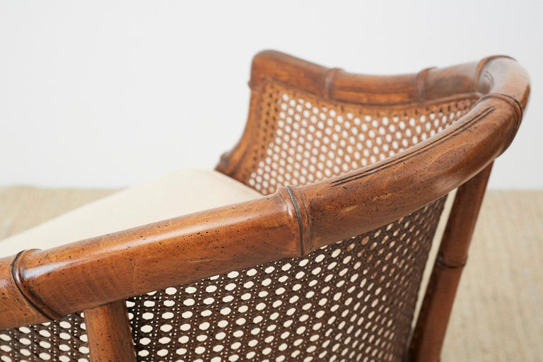 Pair of Midcentury Faux-Bamboo Caned Barrel Chairs For Sale 4