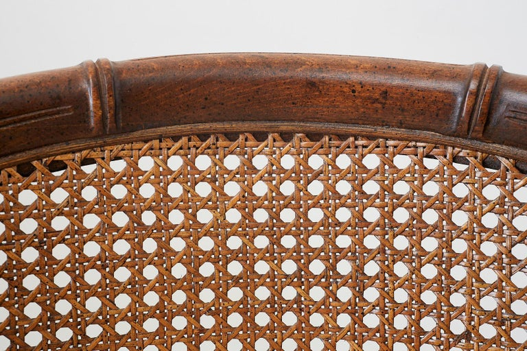 Pair of Midcentury Faux-Bamboo Caned Barrel Chairs For Sale 6