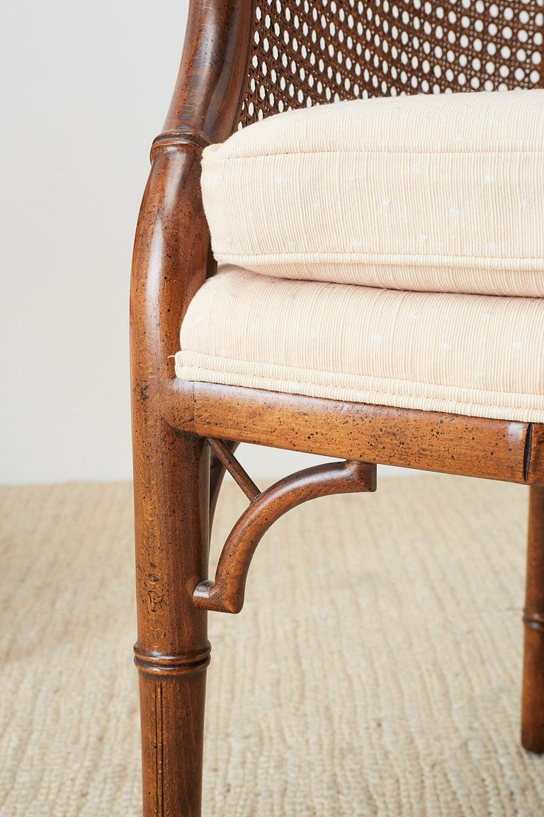 Pair of Midcentury Faux-Bamboo Caned Barrel Chairs For Sale 7