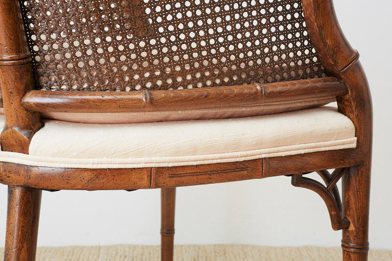 Pair of Midcentury Faux-Bamboo Caned Barrel Chairs For Sale 8