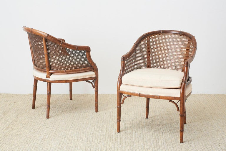 Pair of Midcentury Faux-Bamboo Caned Barrel Chairs For Sale 9