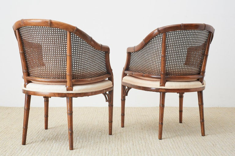 Pair of Midcentury Faux-Bamboo Caned Barrel Chairs For Sale 10