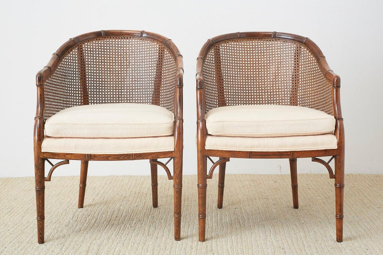 Hollywood Regency Pair of Midcentury Faux-Bamboo Caned Barrel Chairs For Sale