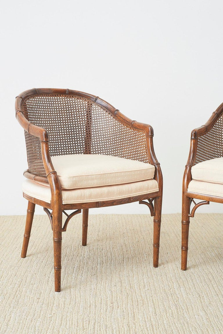 American Pair of Midcentury Faux-Bamboo Caned Barrel Chairs For Sale