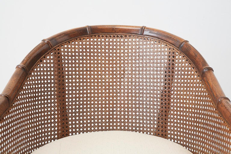 Hand-Crafted Pair of Midcentury Faux-Bamboo Caned Barrel Chairs For Sale