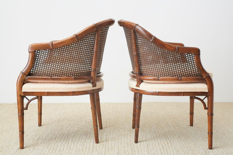 20th Century Pair of Midcentury Faux-Bamboo Caned Barrel Chairs For Sale