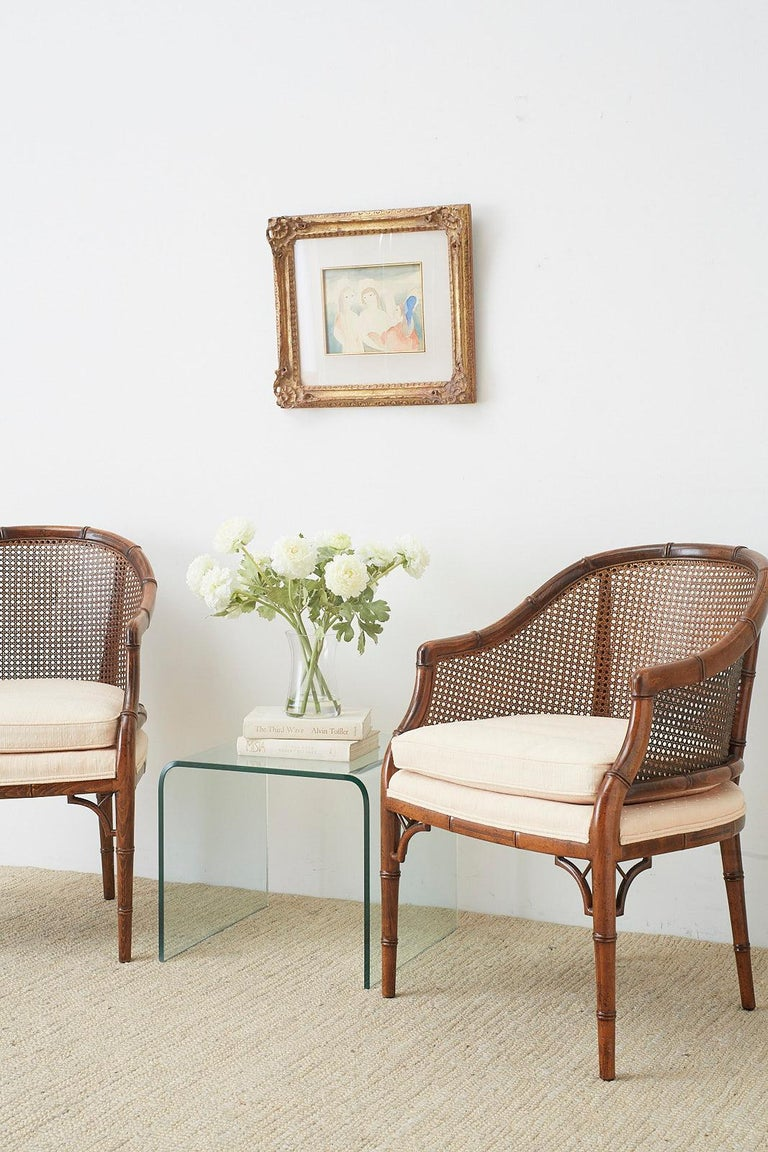 Wood Pair of Midcentury Faux-Bamboo Caned Barrel Chairs For Sale