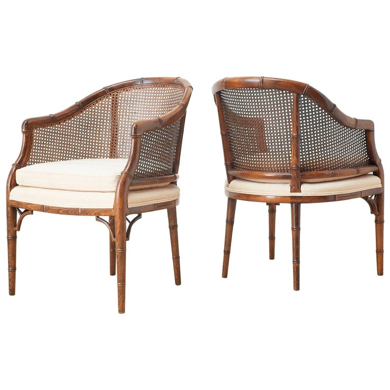 Pair of Midcentury Faux-Bamboo Caned Barrel Chairs For Sale