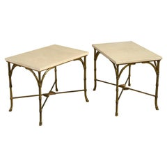 Pair of Midcentury Faux Bamboo End Tables