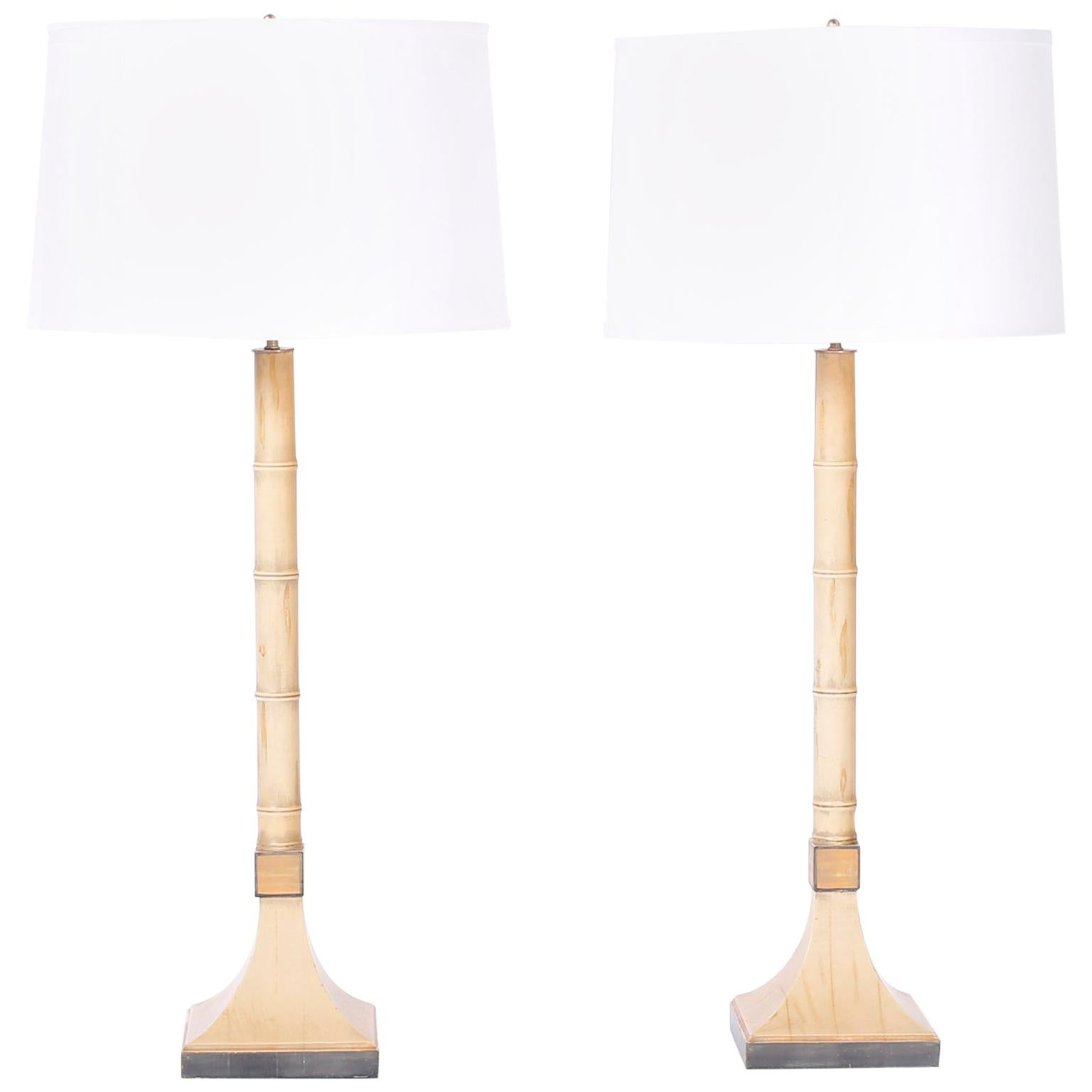 Pair of Midcentury Faux Bamboo Tole Table Lamp