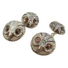 Pair of Midcentury Figural Sterling Silver Owl Form Cufflinks