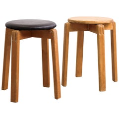 Pair of Midcentury Finnish Patinated Wooden Stools