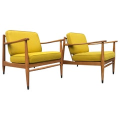 Pair of Midcentury Folke Ohlsson Blonde Lounge Chairs Gold
