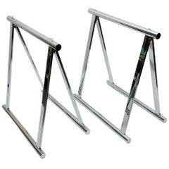 Pair of Midcentury Four-Legs Chromed Steel Italian Trestles, 1970s