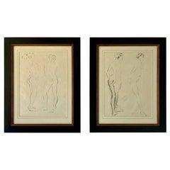 Pair of Midcentury Framed Nude Study Drawings