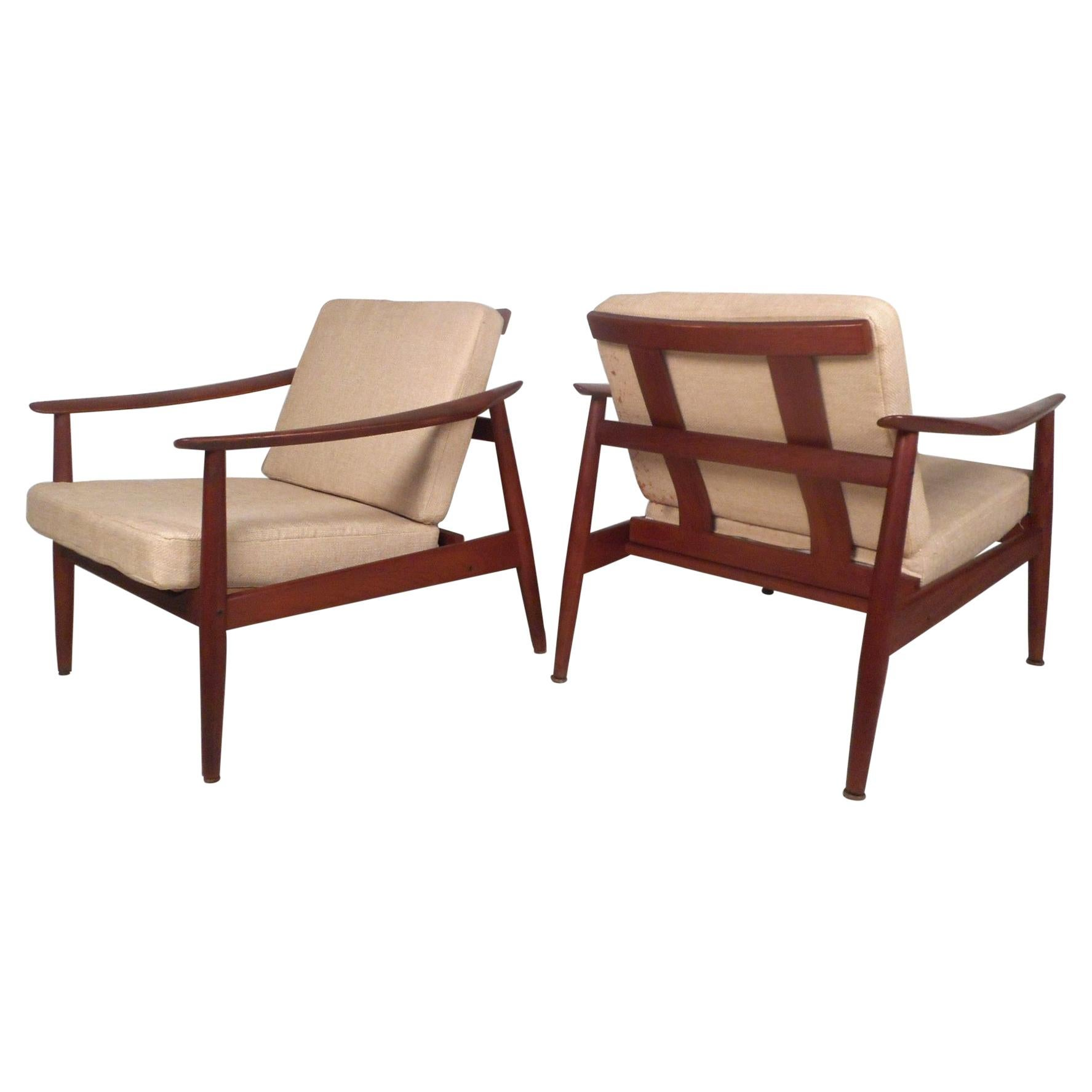 Pair of Midcentury France and Son Adjustable Lounge Chairs by John Stuart