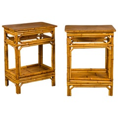 Pair of Midcentury French Bamboo End Tables with Pierced Aprons and Low Shelves