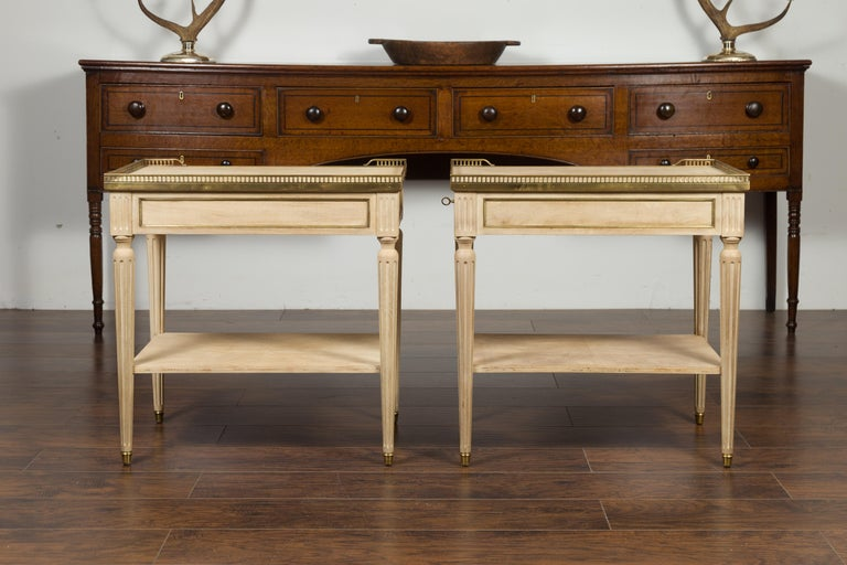 Pair of Midcentury French Bleached Walnut End Tables with Drawers and Gallery For Sale 10