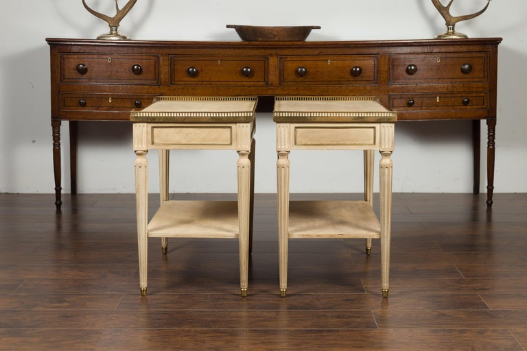 Pair of Midcentury French Bleached Walnut End Tables with Drawers and Gallery For Sale 11