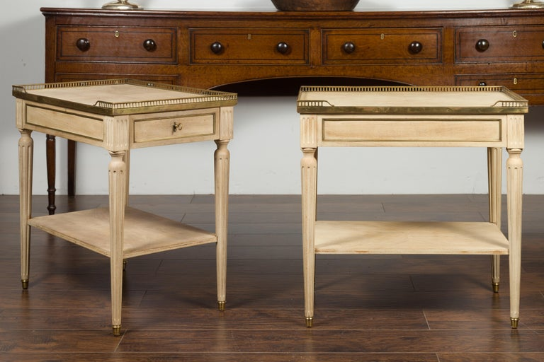 Mid-Century Modern Pair of Midcentury French Bleached Walnut End Tables with Drawers and Gallery For Sale