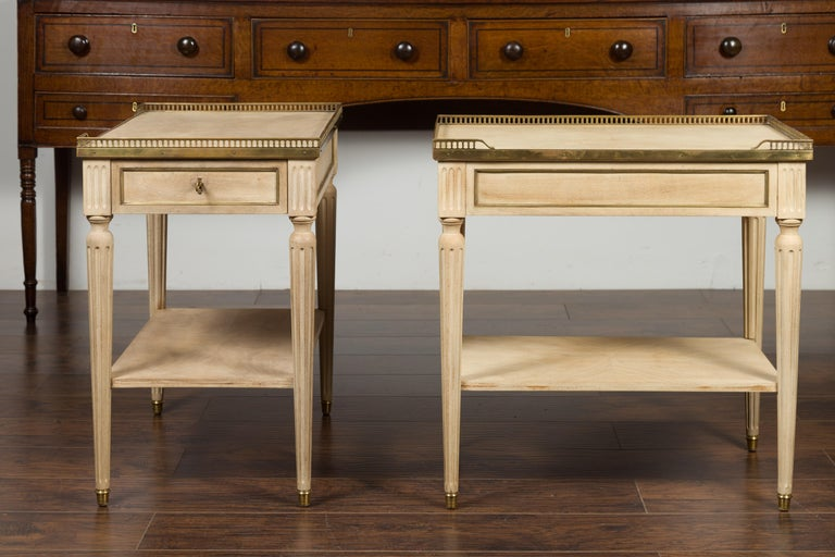 Veneer Pair of Midcentury French Bleached Walnut End Tables with Drawers and Gallery For Sale