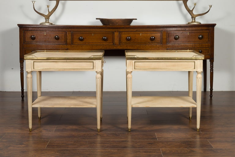Pair of Midcentury French Bleached Walnut End Tables with Drawers and Gallery In Good Condition For Sale In Atlanta, GA